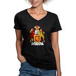 Mortlock Family Crest Women's V-Neck Dark T-Shirt