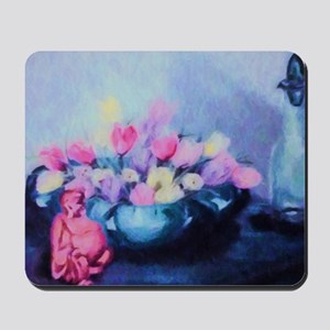 Pink Tulips and Buddah Painting Mousepad