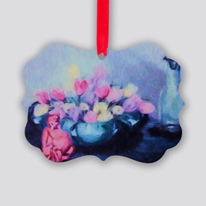 Pink Tulips and Buddah Painting Picture Ornament