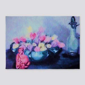 Pink Tulips and Buddah Painting 5'x7'Area Rug