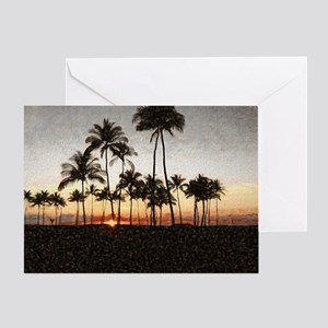 Hawaiian Sunset Rock Painting Greeting Card