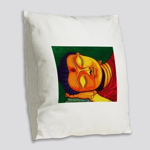 Resting his eyes Burlap Throw Pillow