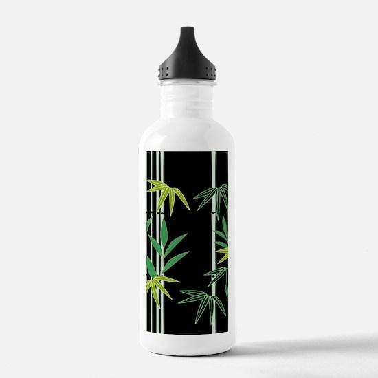 Bamboo on Black Water Bottle