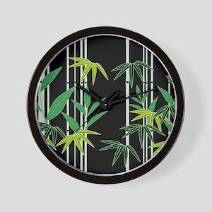 Bamboo on Black Wall Clock