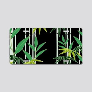 Bamboo on Black Aluminum License Plate