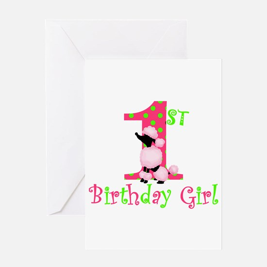 1st Birthday Girl Pink Poodle Greeting Cards