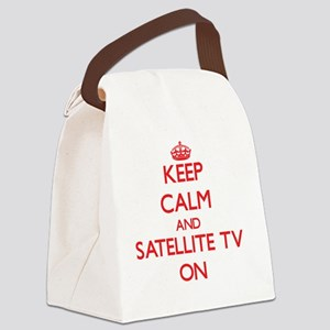 Keep Calm and Satellite Tv ON Canvas Lunch Bag