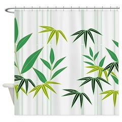 Bamboo (White) Shower Curtain