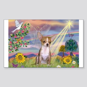 Cloud Angel & Chihuahua Rectangle Sticker