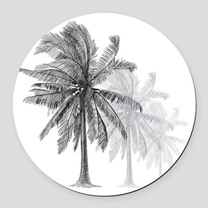 Palm Trees Round Car Magnet