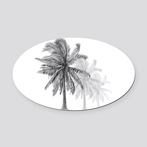 Palm Trees Oval Car Magnet