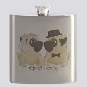 Newlywed Pugs Flask