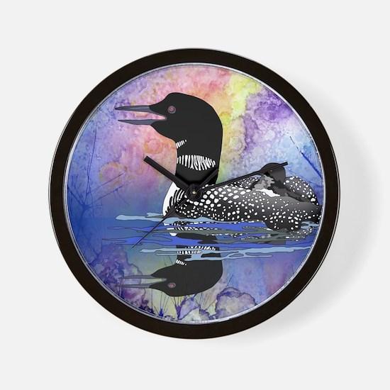 Loon on a lake Wall Clock