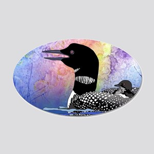 Loon on a lake 20x12 Oval Wall Decal