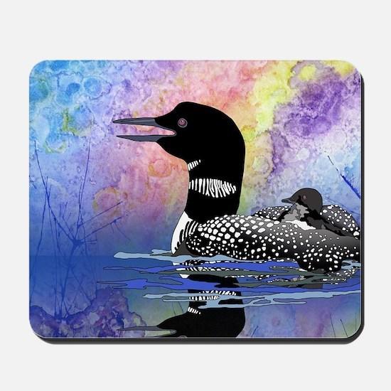 Loon on a lake Mousepad