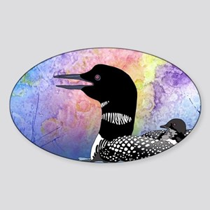 Loon on a lake Sticker (Oval)