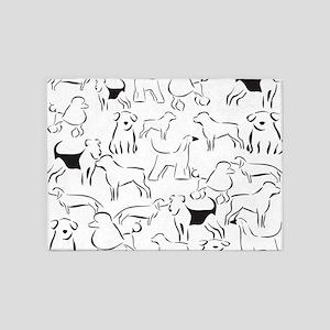 Dog Crazy! Black n White. 5'x7'Area Rug