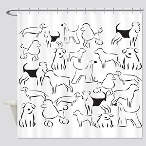 Dog Crazy! Black n White. Shower Curtain