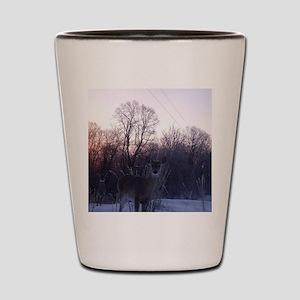 Whitetail Deer Winter Shot Glass