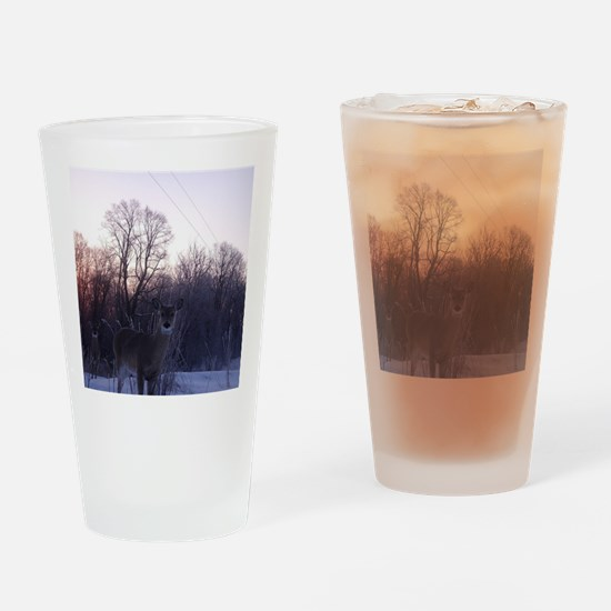 Whitetail Deer Winter Drinking Glass
