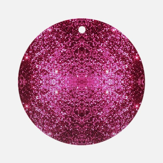 pink glitter Round Ornament