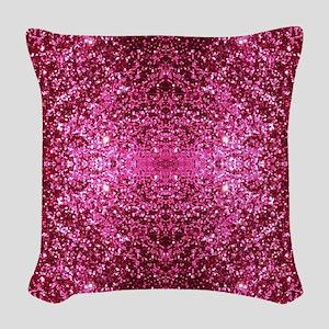 pink glitter Woven Throw Pillow