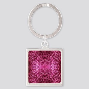 pink glitter Square Keychain