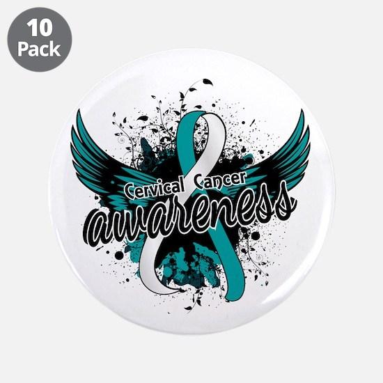 "Cervical Cancer Awareness 16 3.5"" Button (10 pack)"