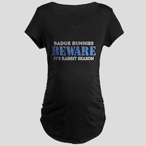 Badge Bunnies Beware Maternity Dark T-Shirt