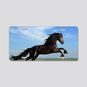Black Horse Running Aluminum License Plate