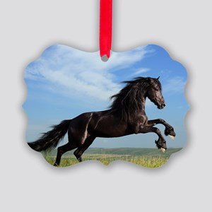 Black Horse Running Picture Ornament