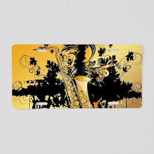 Music, saxophone Aluminum License Plate