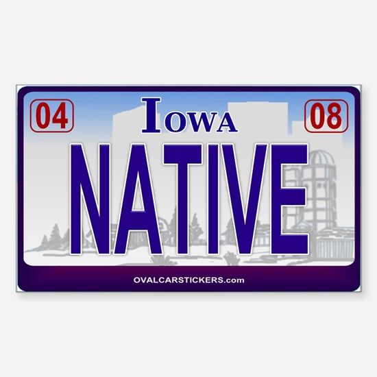 Iowa Plate - NATIVE Rectangle Decal
