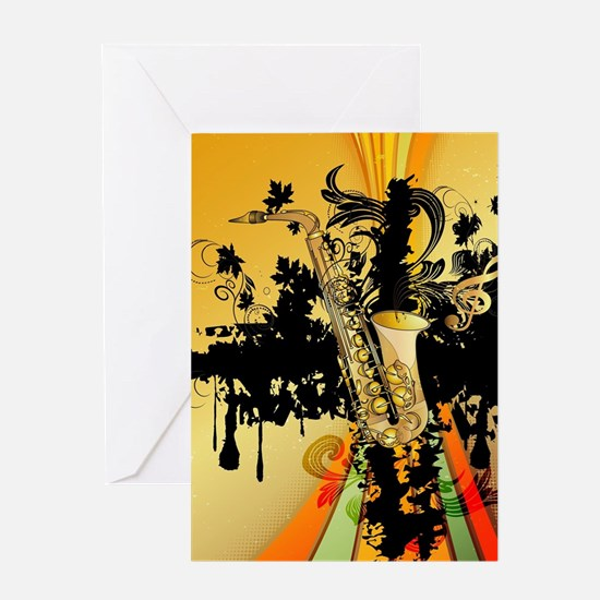 Music, saxophone Greeting Cards