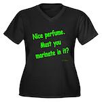 Nice Perfume Women's Plus Size V-Neck Dark T-Shirt