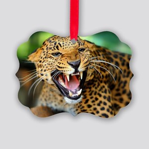 Growling Leopard Picture Ornament