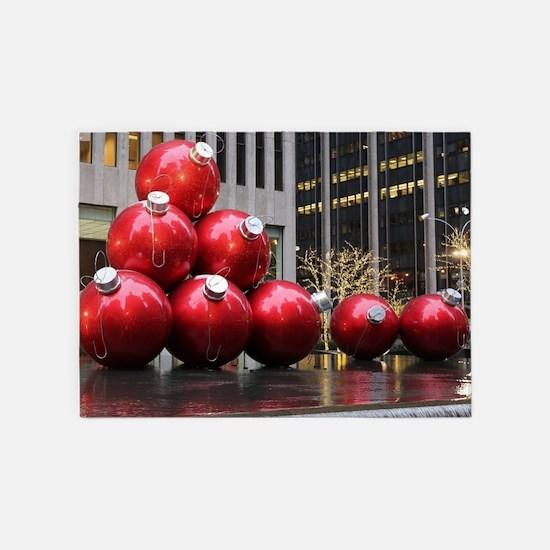 Christmas Ball Ornaments 5'x7'Area Rug