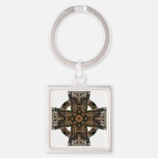 Stone Celtic Knot Celtic Cross Square Keychain