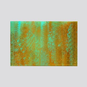 Turquoise and Copper Abstract Rectangle Magnet