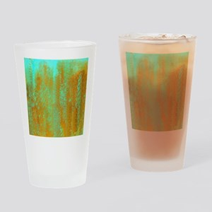 Turqoise and Copper Abstract Drinking Glass
