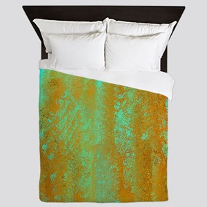 Turqoise and Copper Abstract Queen Duvet