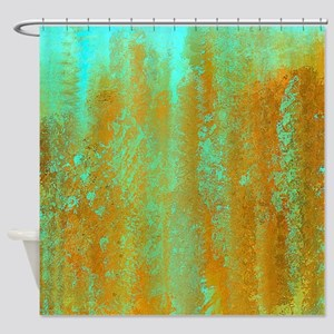 Turqoise and Copper Abstract Shower Curtain
