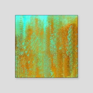 """Turqoise and Copper Abstrac Square Sticker 3"""" x 3"""""""