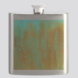Turqoise and Copper Abstract Flask