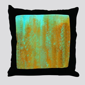 Turqoise and Copper Abstract Throw Pillow