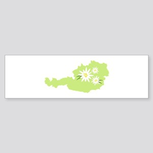 Austria Country Map Edelweiss Flower Bumper Sticke