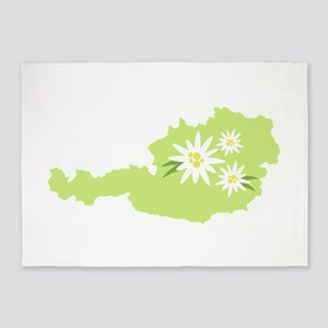 Austria Country Map Edelweiss Flower 5'x7'Area Rug