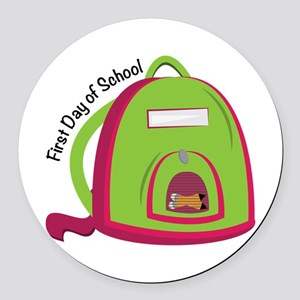 First Day Of School Round Car Magnet