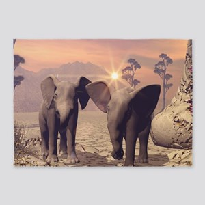Cute baby elephant 5'x7'Area Rug