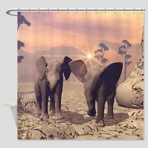 Cute baby elephant Shower Curtain